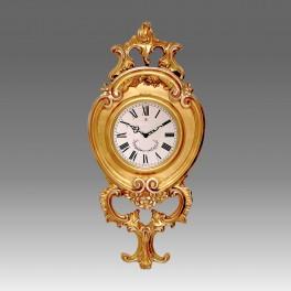212/G Orologio da parete al quarzo in foglia oro con particolari argento