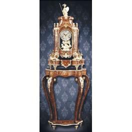 """CT124/4 Orologio a pendolo """"Boulle"""" Style Luigi XV, con base, in legno di olmo intarsiato con ottoni"""